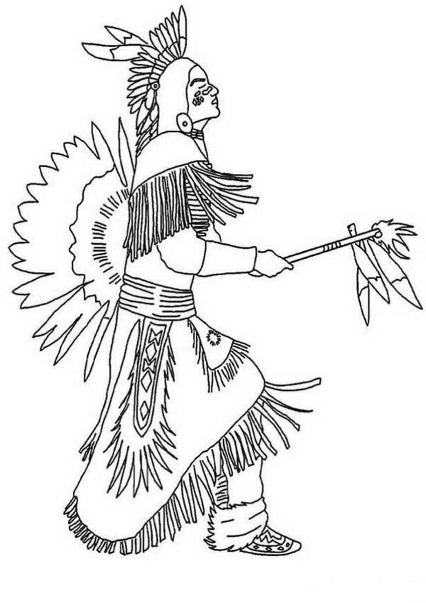 Native American Pow Wow Dancer Coloring Page