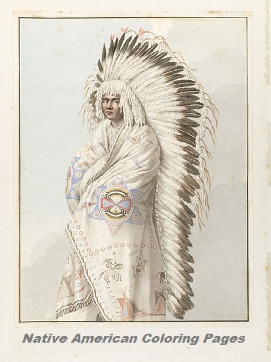 North American Indian Chief in Headdress and Robe Drawing