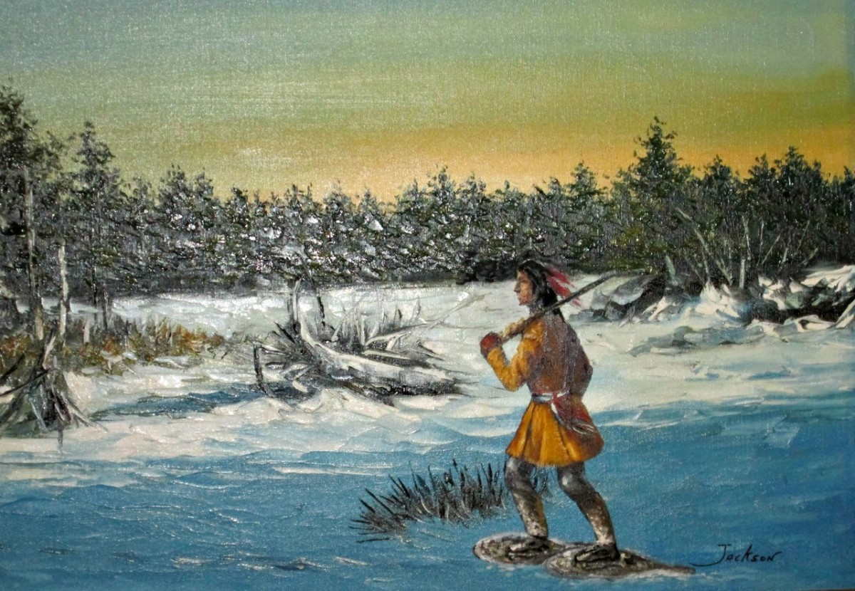Artwork of Native American man snow shoeing in the wilderness.