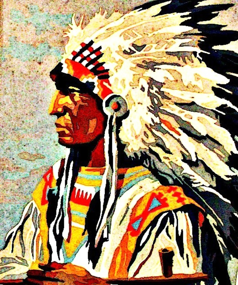 Indian Chief With Headdress Painting