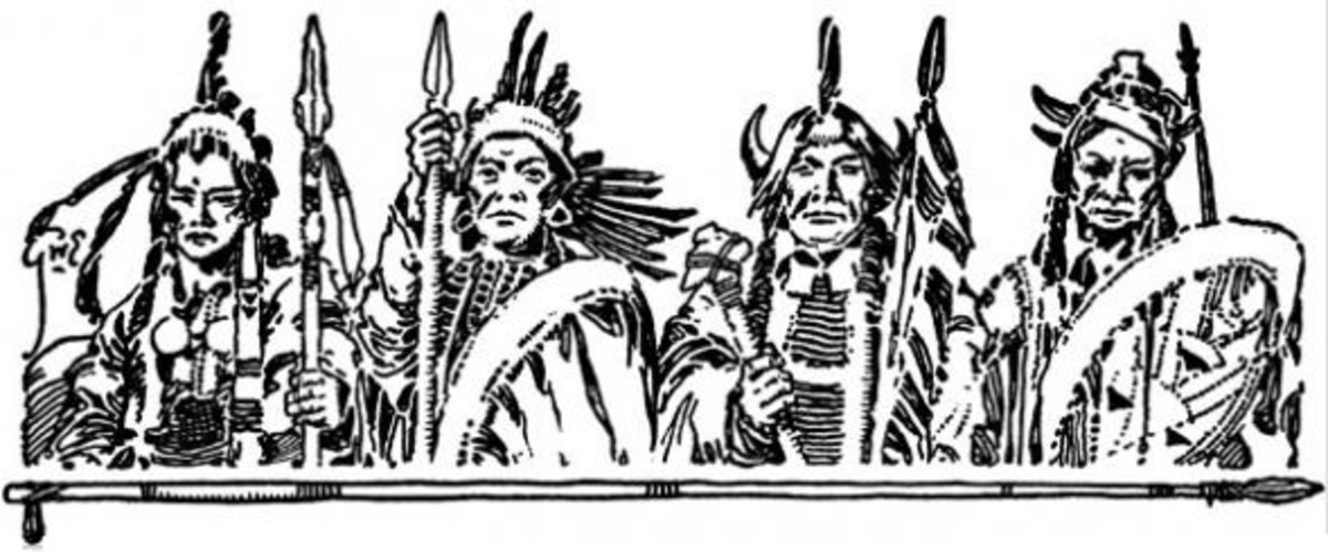Four Native American Warriors Clipart Border To Color
