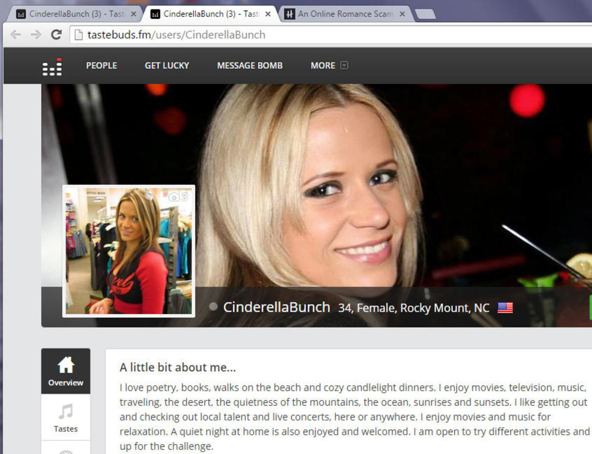 This is an Ann Angel photo being used on Tastebuds online site by Chelsea. This profile is still active listed as CinderellaBunch.