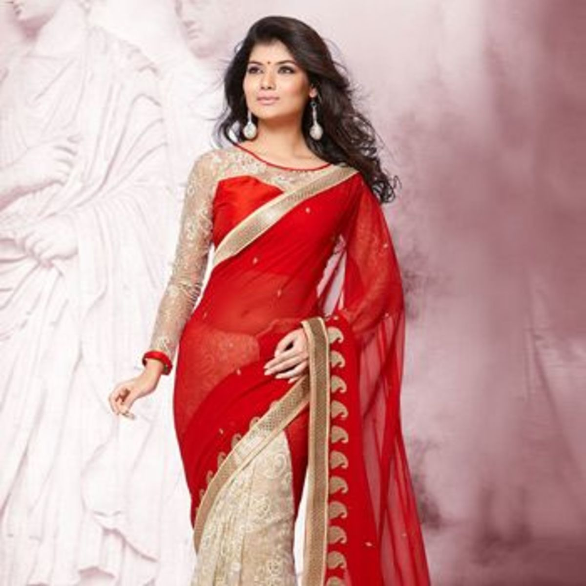 Red and white 50 50 chiffon saree