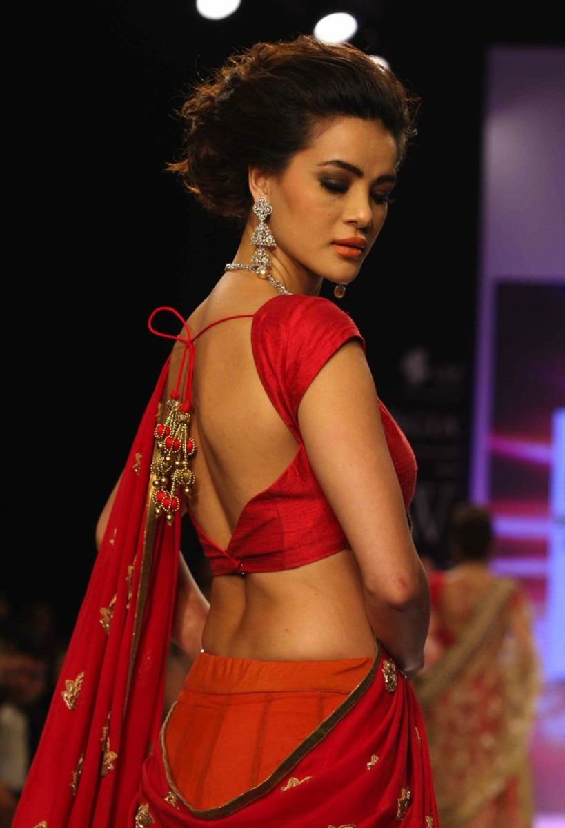 Red saree blouse back design