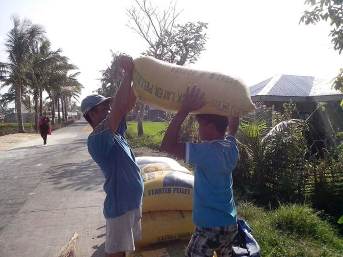 Barrio Life, lifting a sack of rice (Photo Source: Ireno A. Alcala)