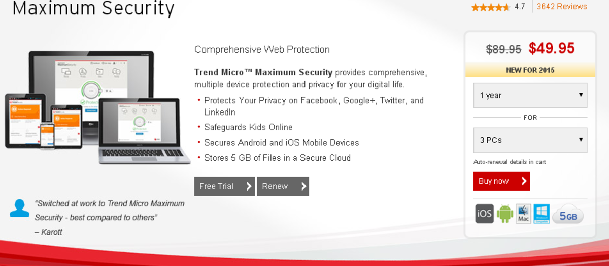 The main features of Trend Micro Maximum Security