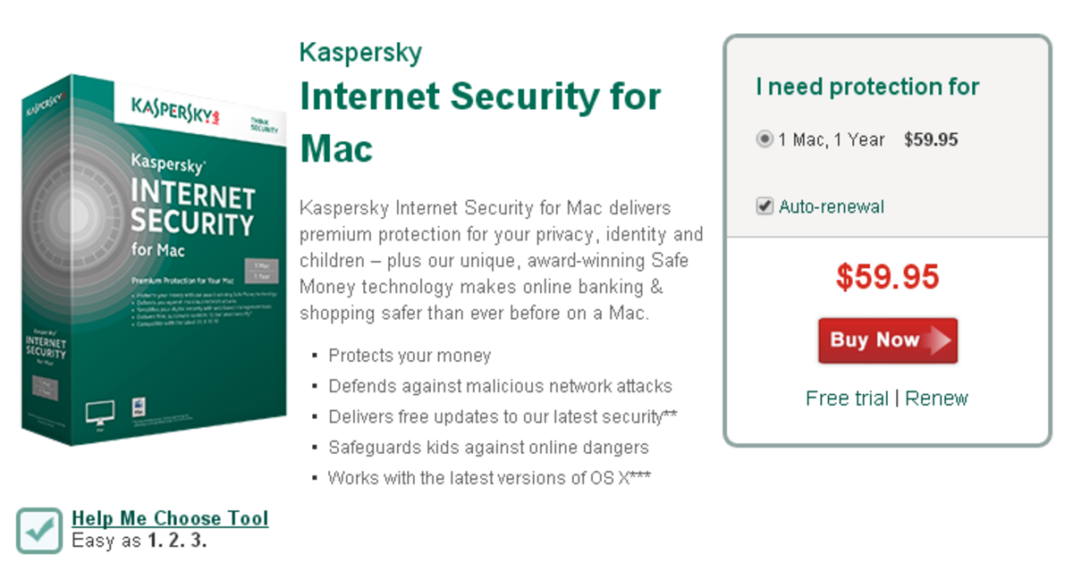 The main features of Kaspersky Internet Security for Mac.