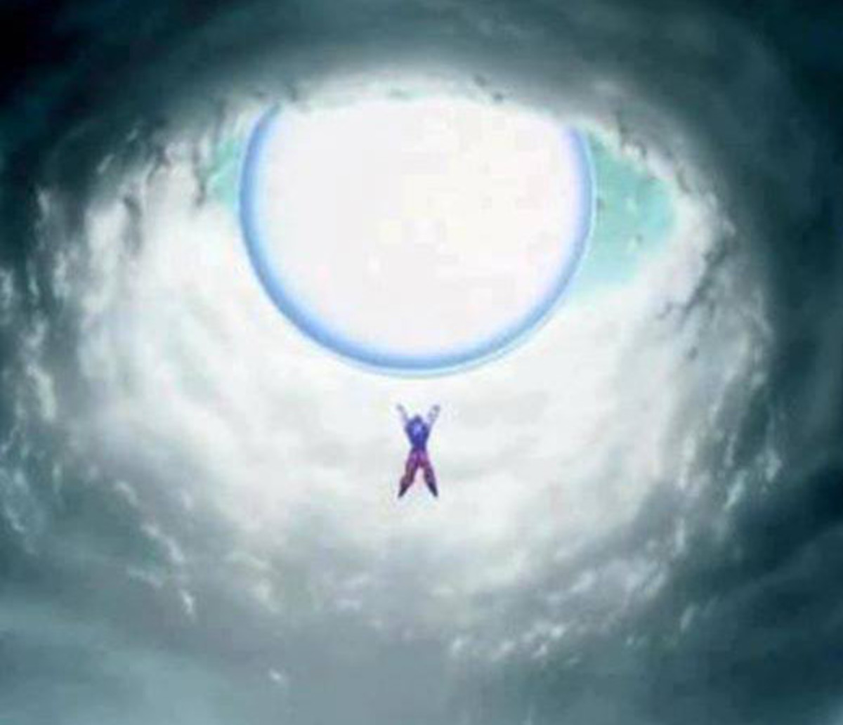 Goku charging a Spirit Bomb.