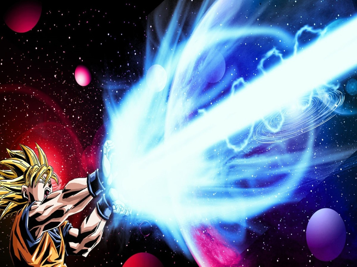 Goku fires a Kamehameha wave
