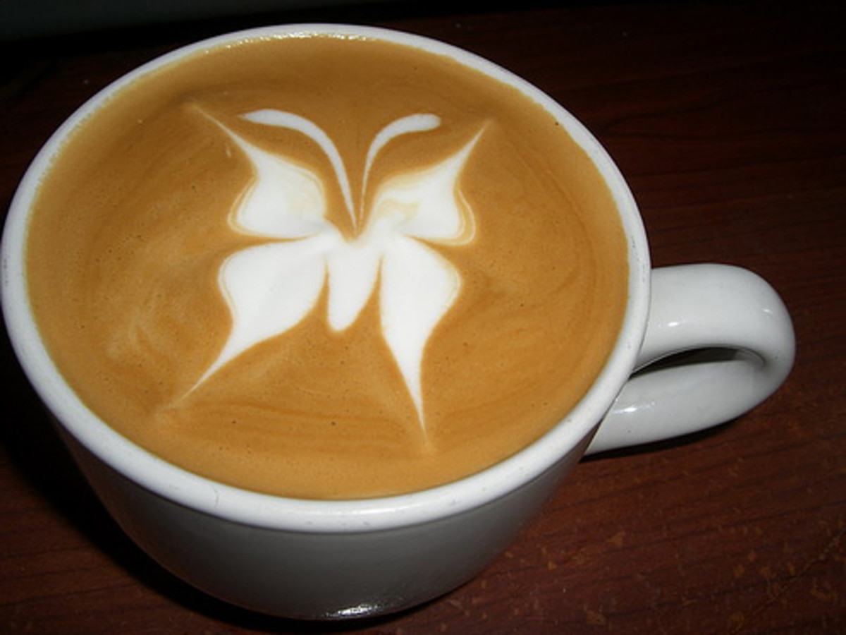 Butterfly latte art
