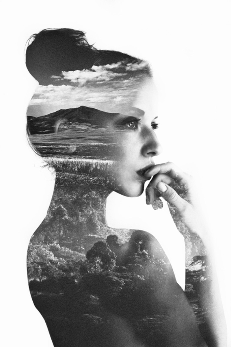 Black and White Thinking- Black and White Woman and Clouds
