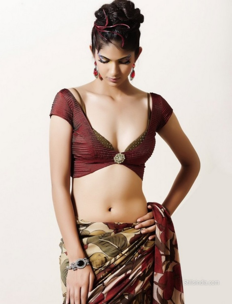 photograph of saree blouse with bra strap showing
