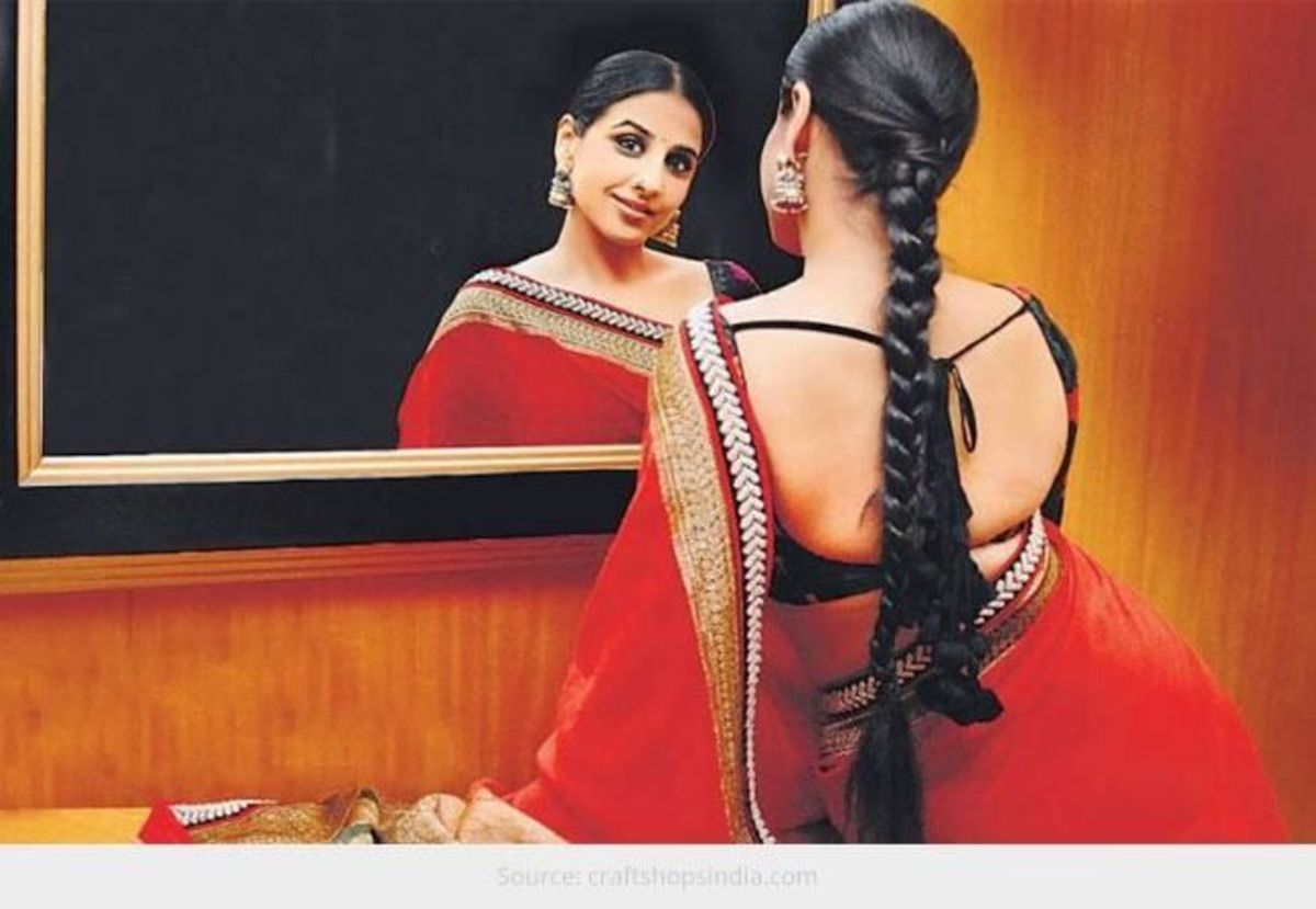 Don't wear a saree blouse which bites onto your skin and this happens especially when overweight women wear tight saree blouse with big back neck