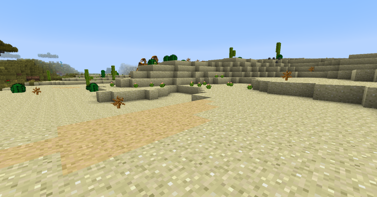 Tiny cacti and dangerous quicksand now appear in the original desert biomes, adding two more reasons for wanderers to watch their feet.