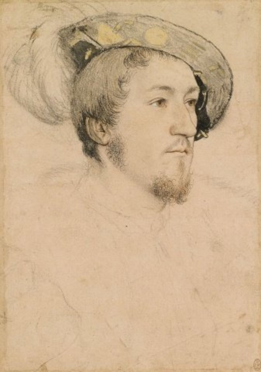 George Boleyn or unknown man, Hans Holbein sketch, compare his facial features to Anne Boleyn