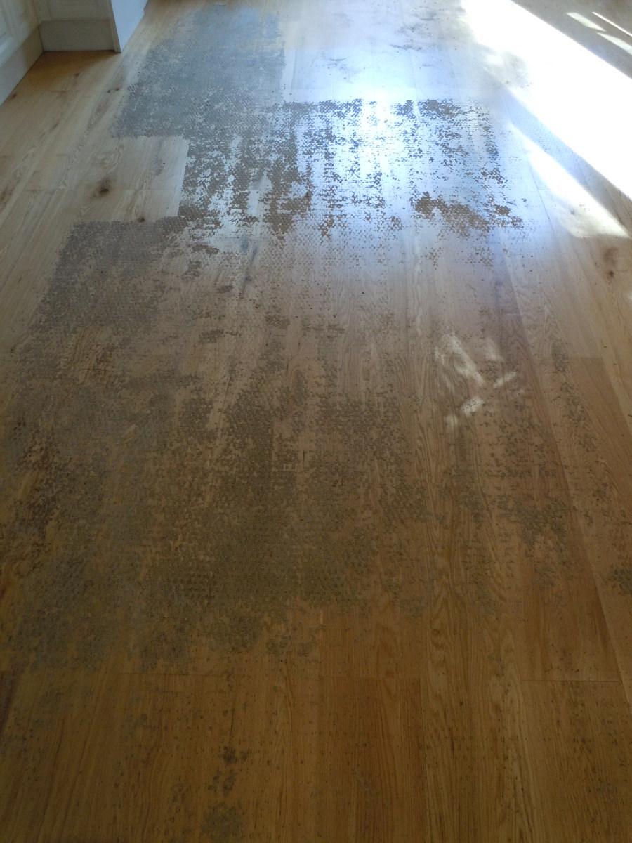 Hardwood Floor With Adhesive Residue