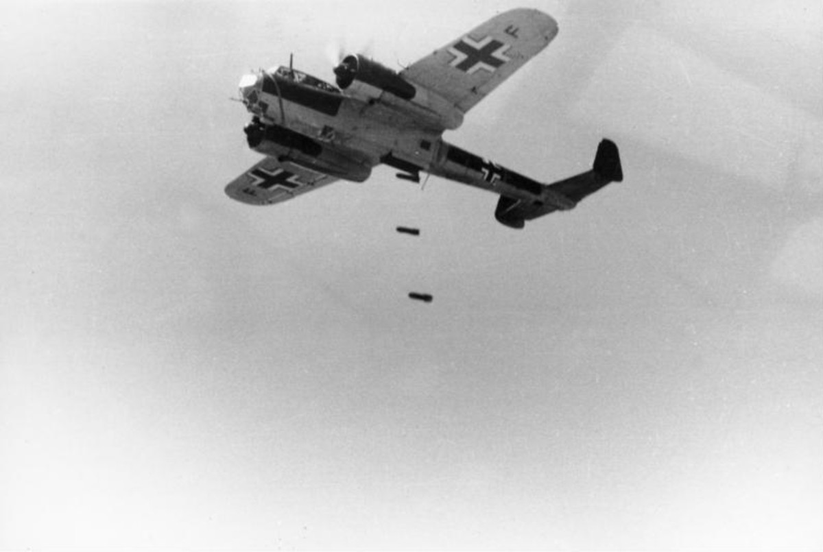 "A Dornier DO 17 Z airplane drops bombs. The plane belonged to the 3rd Luftwaffe ""Polen"" and the war reporter company (KBK) of the 3rd Luftwaffe."