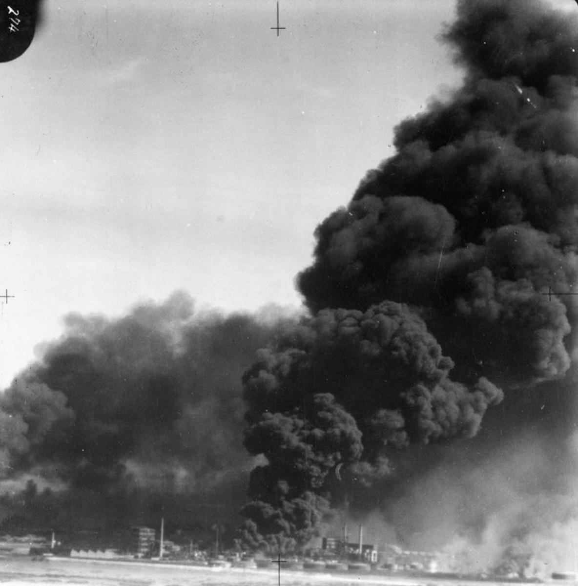 26-29 May 1940 Burning oil tanks at Dunkirk.