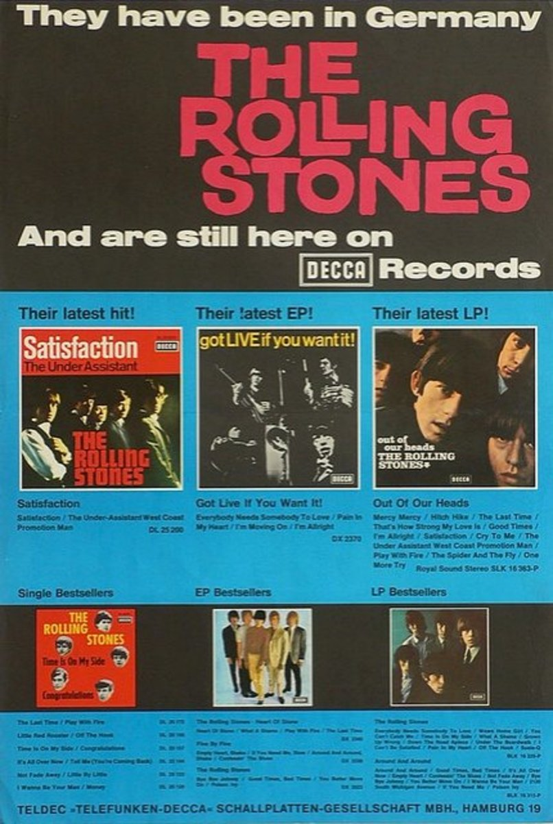"The Rolling Stones In-Store Promotional Poster Decca Records ""Outta Our Heads""(1965) German Printing"