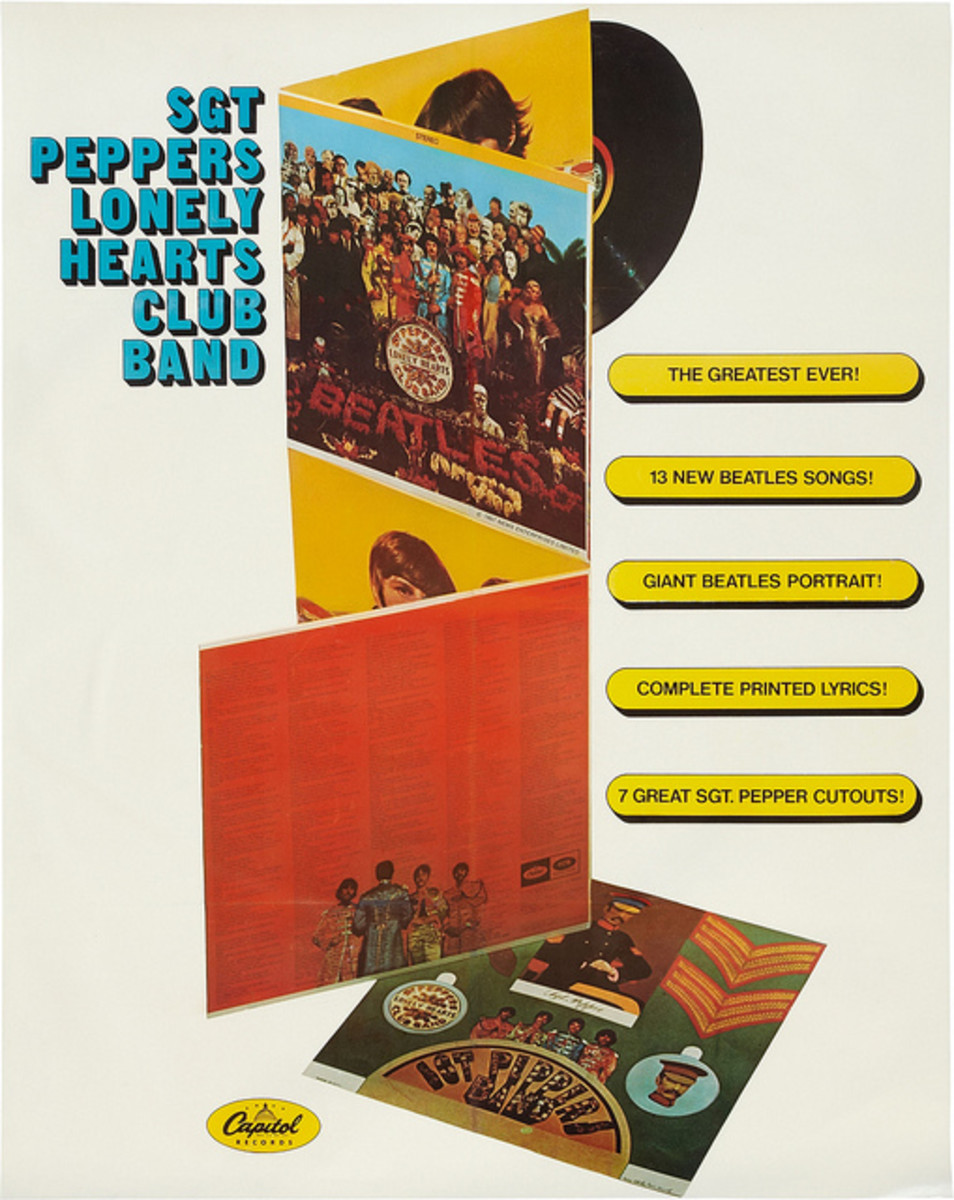 "The Beatles ""Sgt. Pepper's Lonely Hearts Club Band"" 4CL-2653 Capitol Records In-Store Promo Poster (1967)."