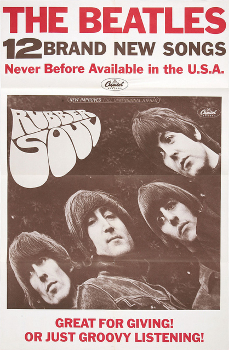 """The Beatles """"Rubber Soul"""" Capitol Records In-Store Promotional Poster (1965) ST 2442"""