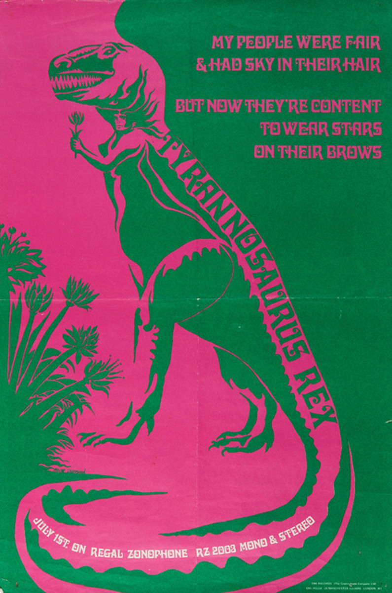 "Tyrannosaurus Rex ""My People Were Fair And Had Sky In Their Hair"" Regal Zonophone (1968) UK Record Store Promo Poster"