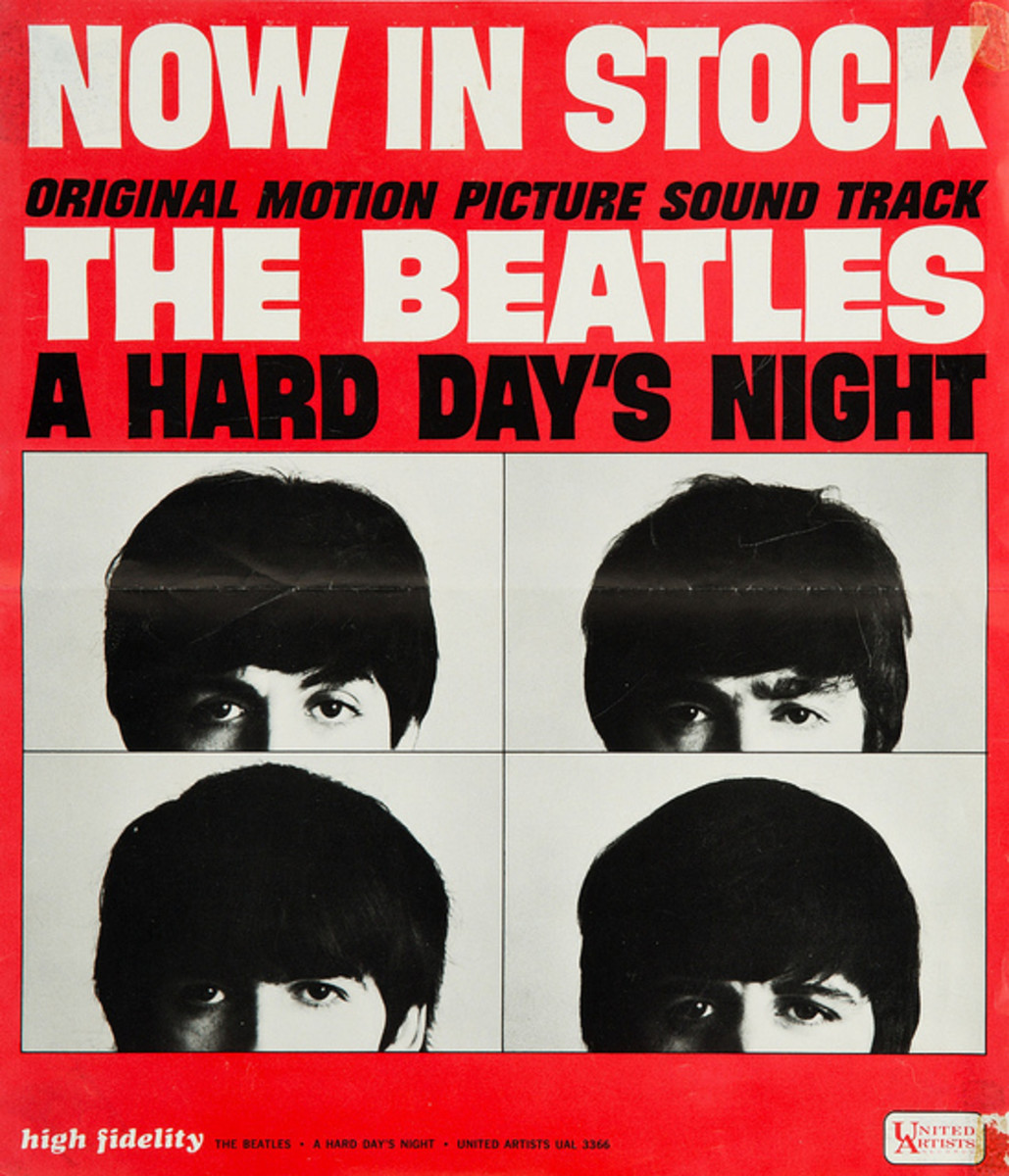 "The Beatles ""A Hard Days Night"" United Artist Records UAS 6366 (1964) Promotional Poster for the Movie Soundtrack."