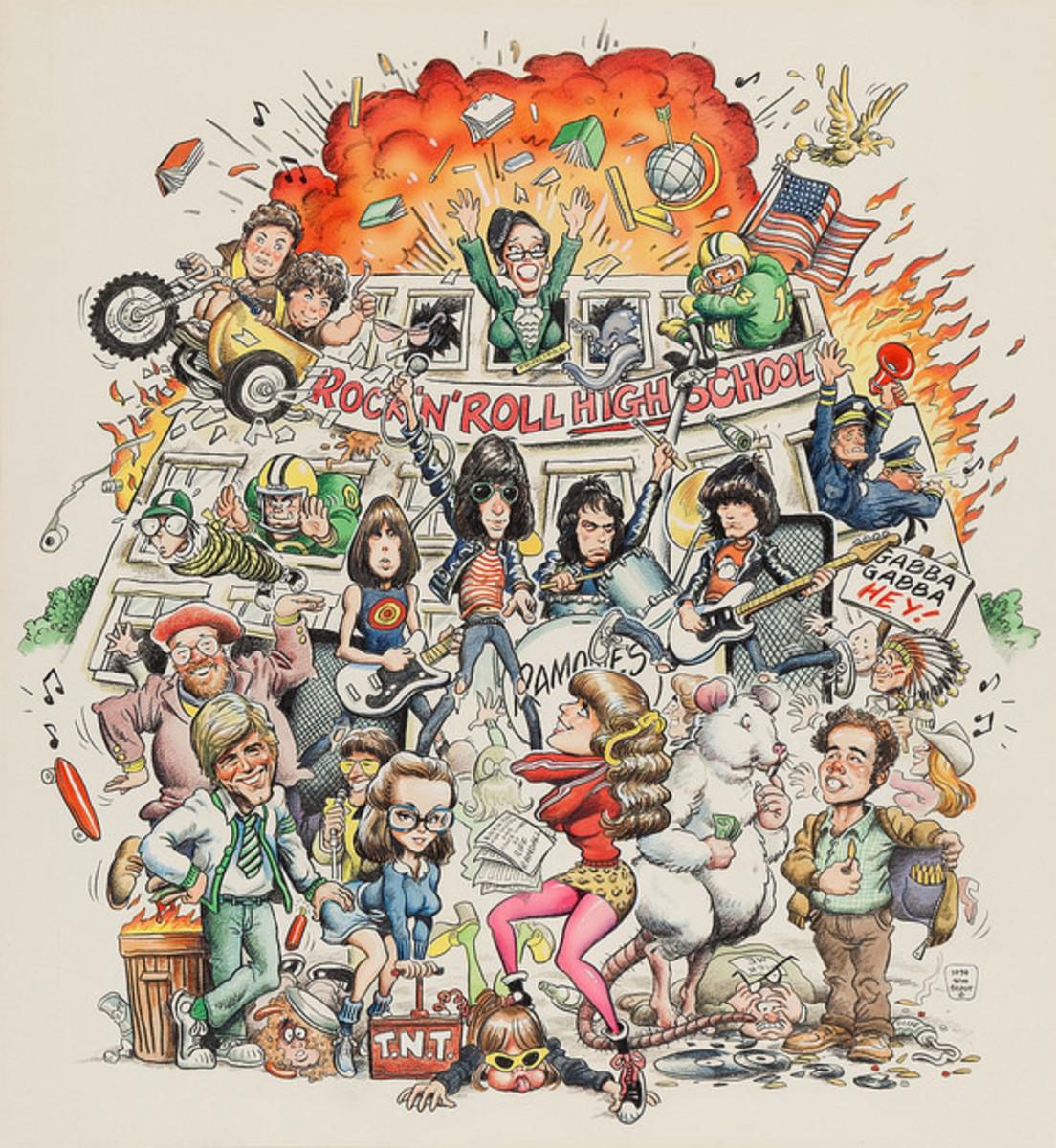 Ramones - Rock 'N' Roll High School Poster Original Art by William Stout