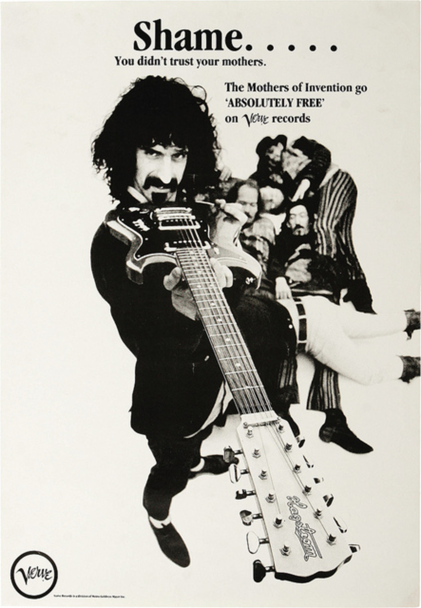 "Frank Zappa and the Mothers of Invention ""Absolutely Free"" Record Store Promotional Poster (1967)"