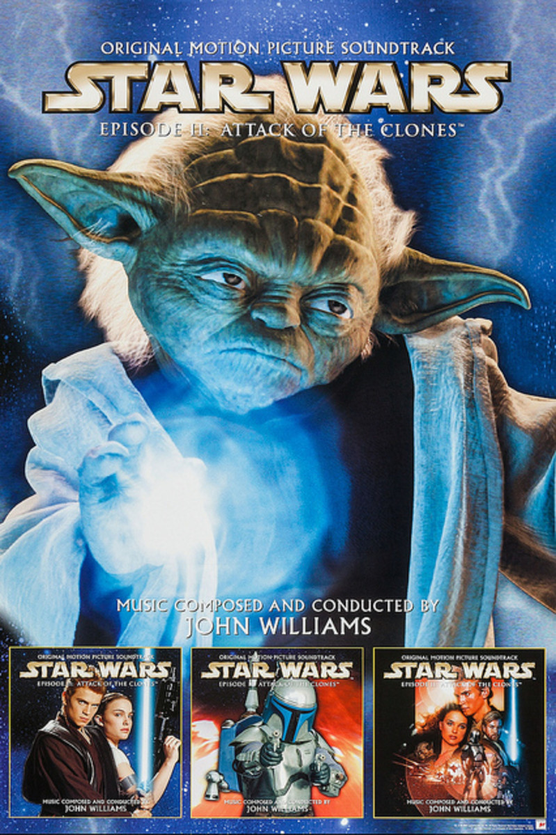 """Star Wars: Episode II """"Attack of the Clones"""" Sony Entertainment Soundtrack In-Store Promo Poster ( 2002)"""