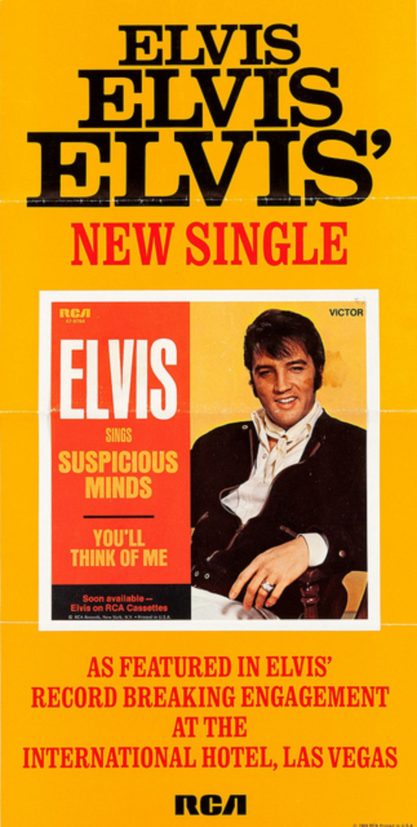 "Elvis Presley ""Suspicious Minds"" RCA Victor 47-9764 Record Store Promo Poster (1969)"