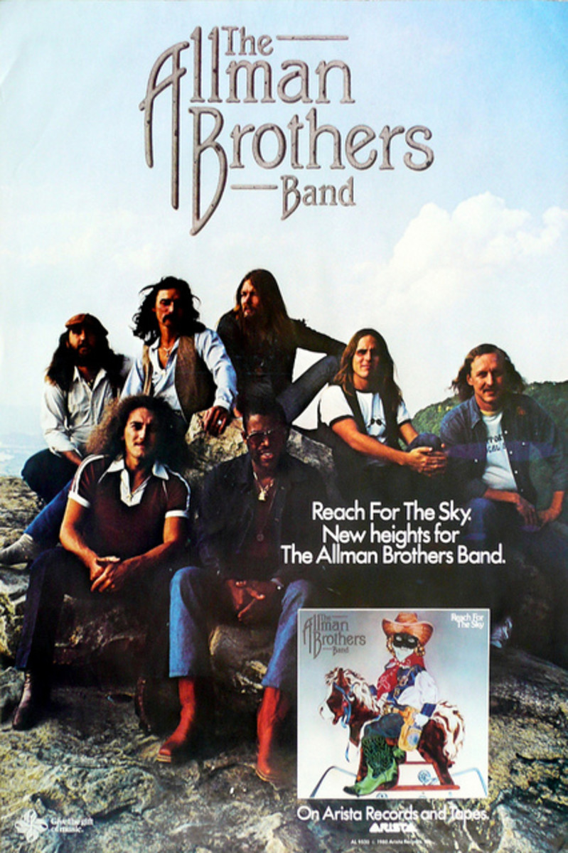 "The Allman Brothers Band ""Reach For the Sky"" Arista Records (1980) In-Store Promotional Poster"