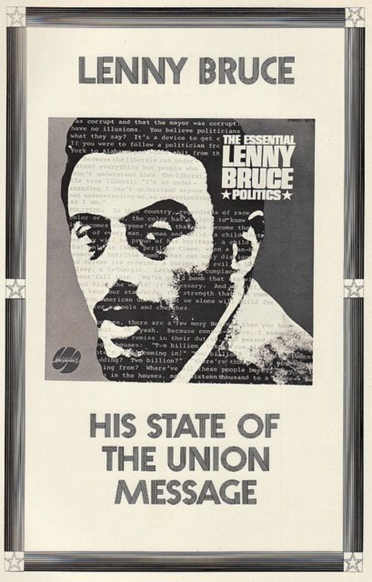 "Lenny Bruce ""The Essential Lenny Bruce Politics"" Douglas Records 788 (1965) Record Store Promotional Poster Display"