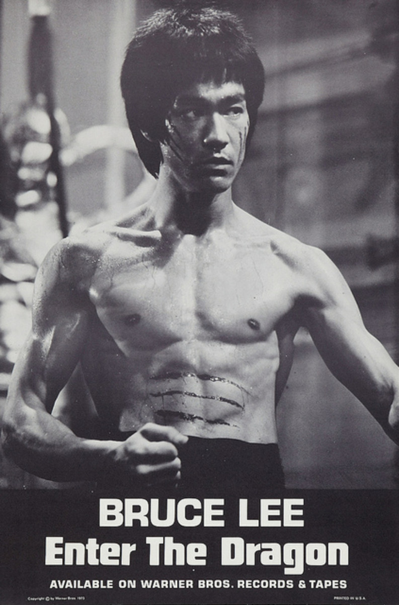 "Bruce Lee ""Enter the Dragon"" Warner Brothers Movie Soundtrack Poster (1973) Record Store Promotional Poster"