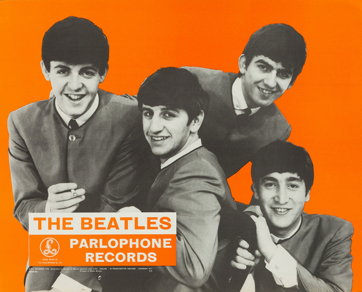 Beatles Parlophone Records In-Store Promotional Display Poster UK, c. 1963-64