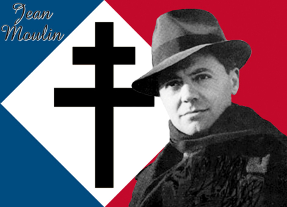 The Free French Flag With Cross Of Lorraine And Jean Moulin