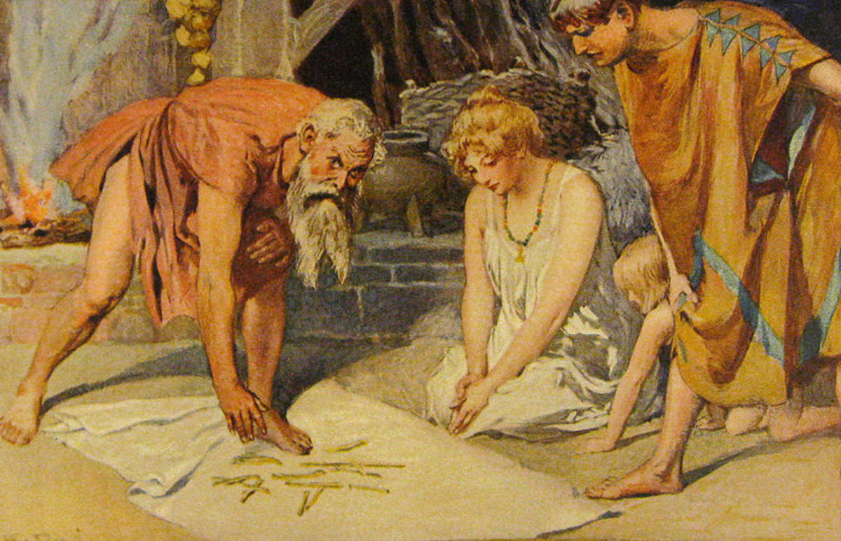 Germanic staves inscribed with runes spilled for divination. Art by Emil Doepler