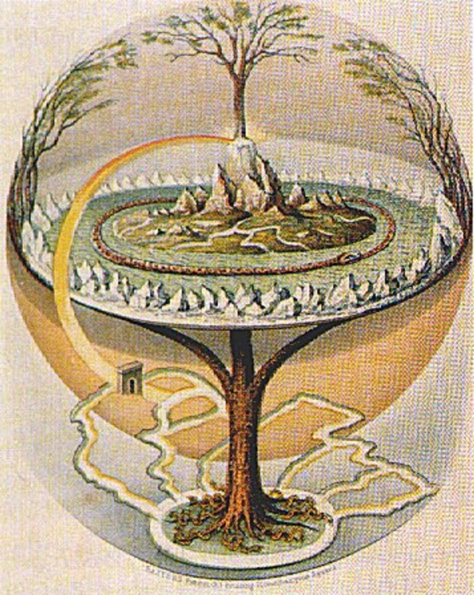 Yggdrasil, the world tree in Germanic Mythology, by Oluf Olufsen Bagge.