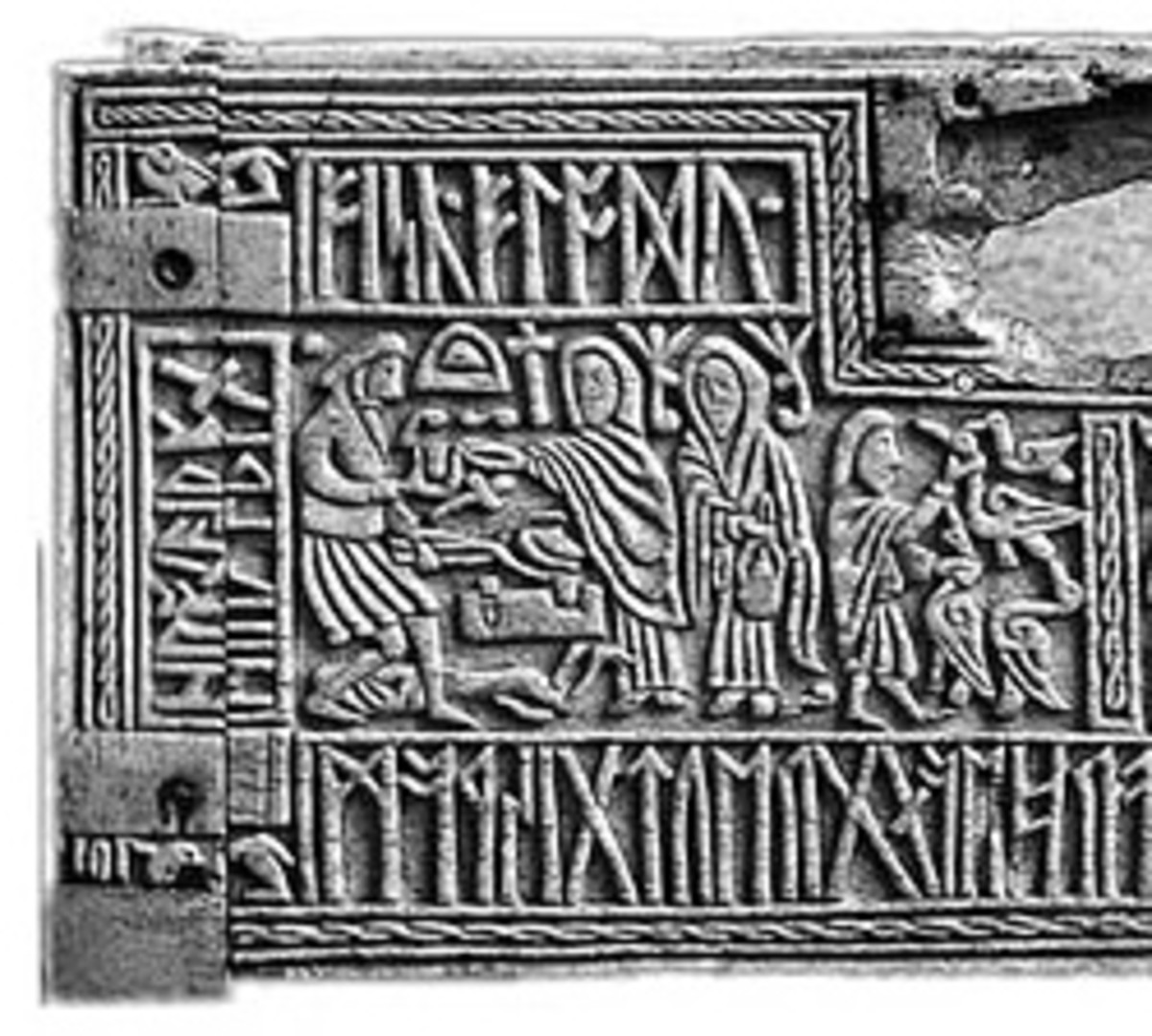 The left half of the front panel of the 7th century Franks Casket, depicting the Germanic legend of Weyland Smith and containing a riddle in Anglo-Saxon runes.