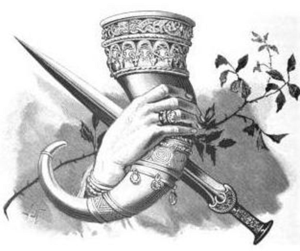 Drinking Horn in a woman's hand, an illustration from Edda Samund den Vises by Frederik Sander, various artists