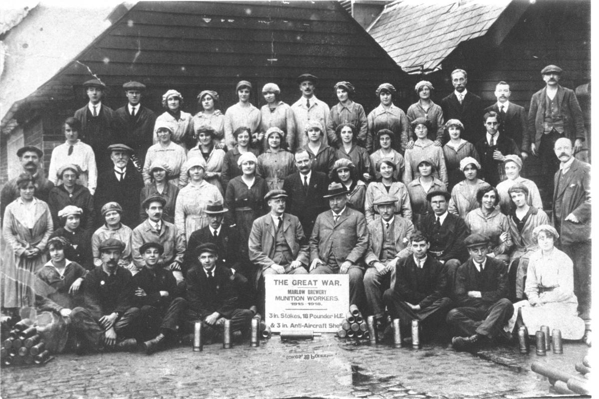 Munitions workers in the Wethered's Brewery yard   Pound Lane, Marlow, 1918.