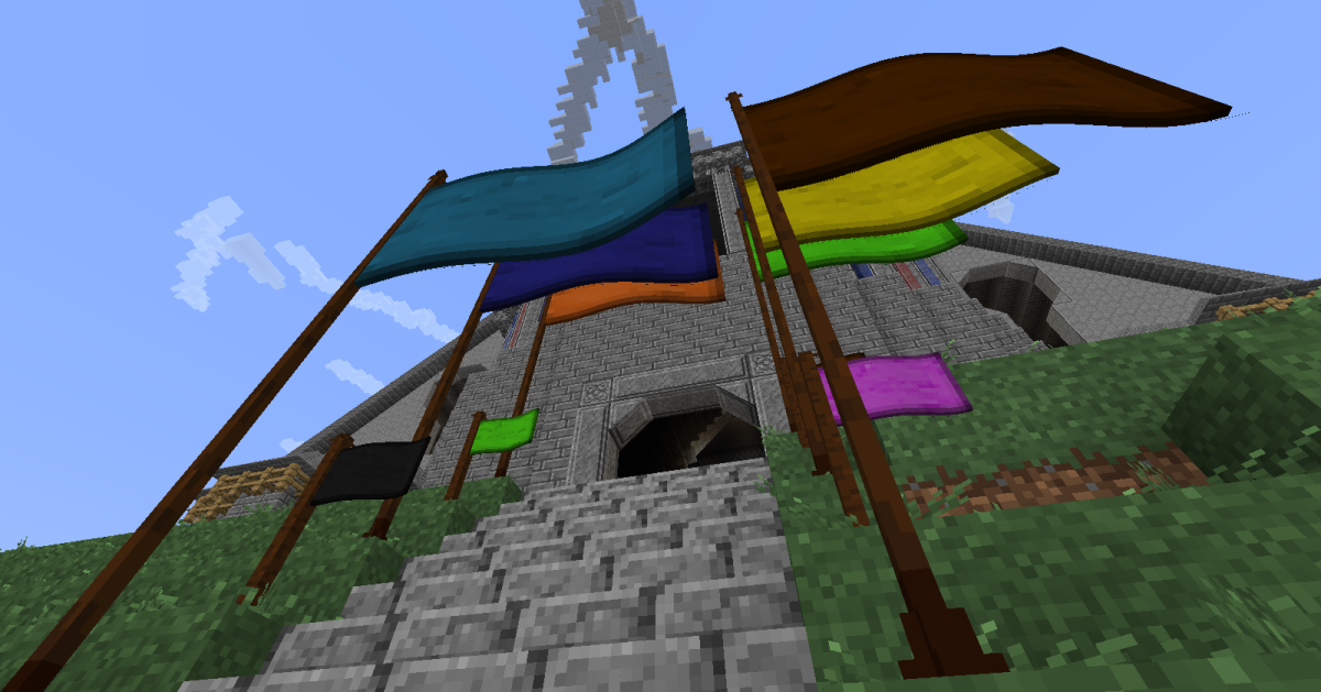Flags are all fully animated, can come in several colors, and every few minutes swap between appearing to blow in the wind and just hanging towards the ground.