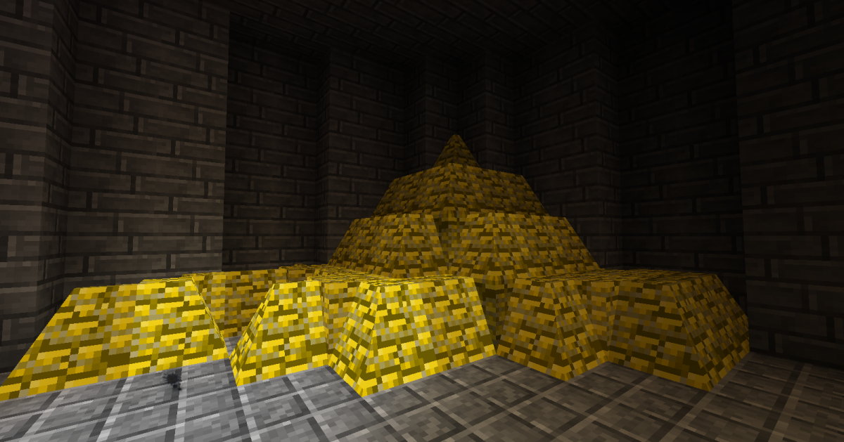 Wealthy players can now build massive piles out of their gold, though there are a few problems with how the sections merge together.