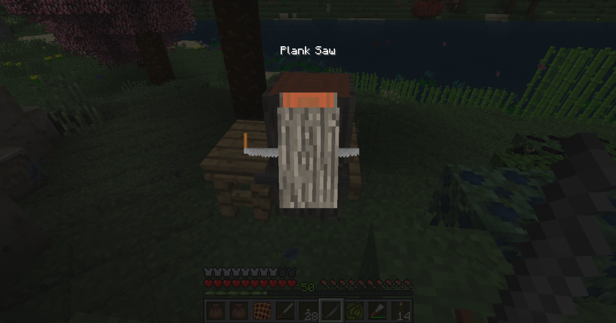 The crafting system in this mod is a lot more hands-on than most, and players will have to saw through wood, wipe the boards down with sandpaper, and then spread linseed oil over them before constructing many of the fancier items.