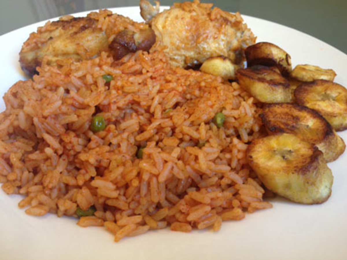 Jolof rice anf fried plantain