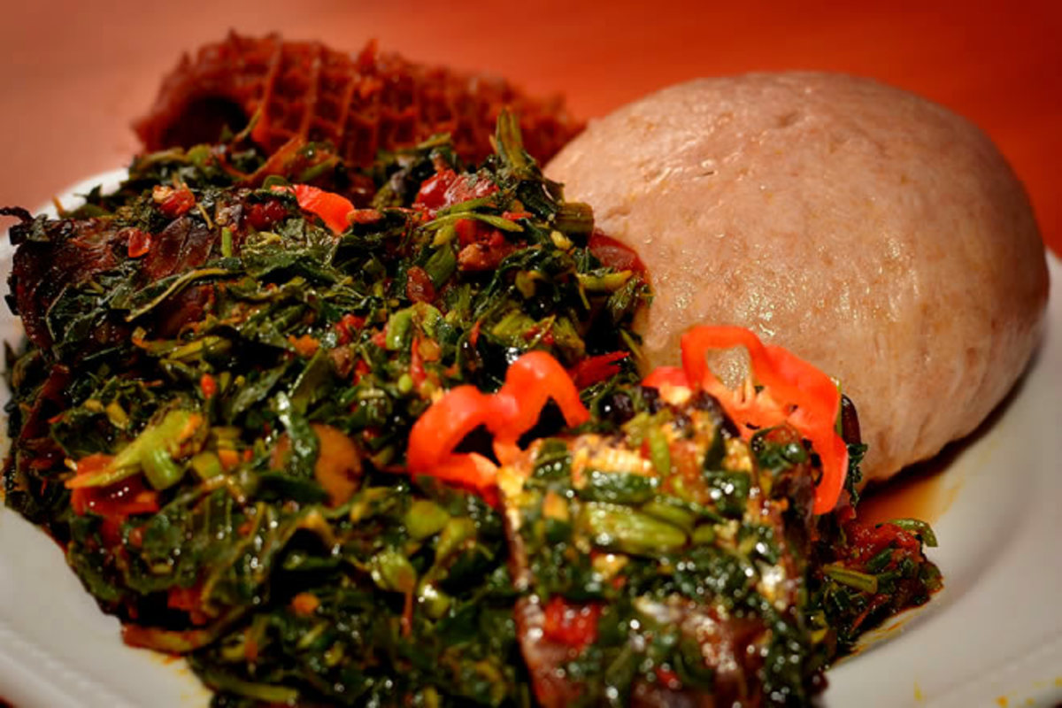 Amala (yam flour) and vegetable