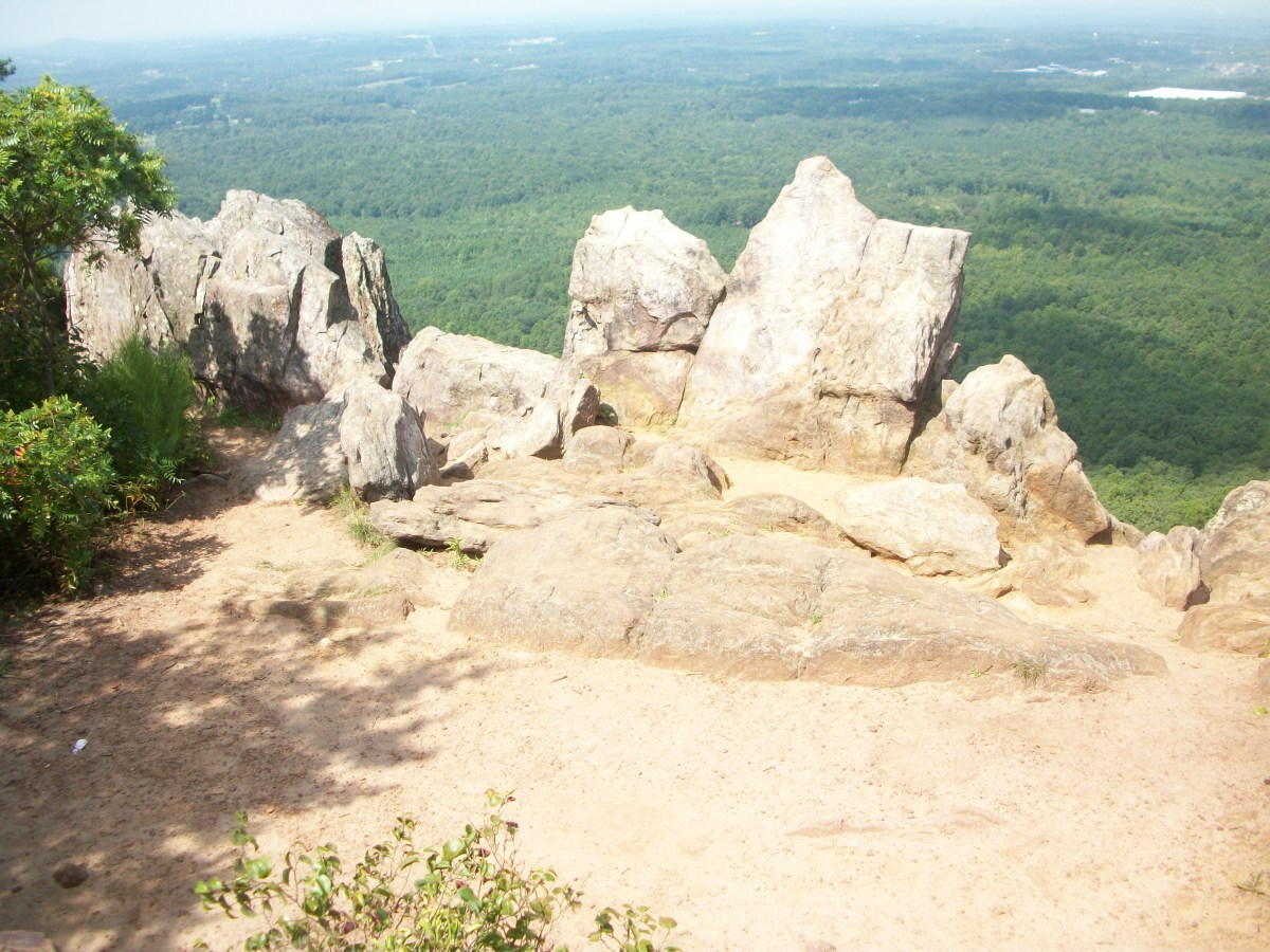 View from the King's Pinnacle. You must hike The Pinnacle Trail to get to this point. You must also climb a few big boulders to get to this view.  Photos are provided below.