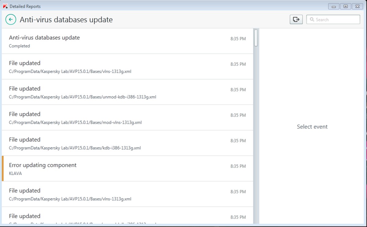 'Error update component KLAVA'