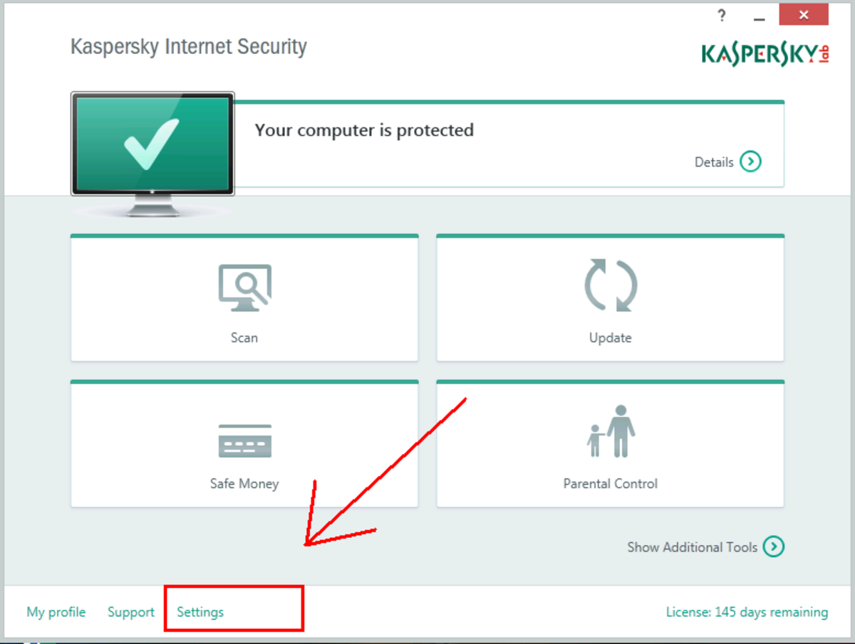 Open Kaspersky Settings