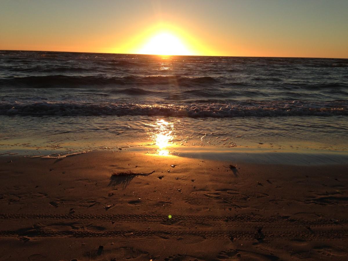 Beach walk and sunset date